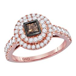1 CTW Princess Cognac-brown Diamond Bridal Ring 14KT Rose Gold - REF-116H9M