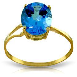 Genuine 2.2 ctw Blue Topaz Ring Jewelry 14KT Yellow Gold - REF-27M8T