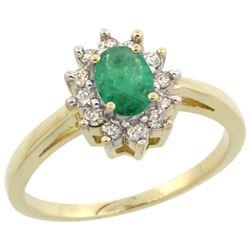 Natural 0.72 ctw Emerald & Diamond Engagement Ring 10K Yellow Gold - REF-40G5M