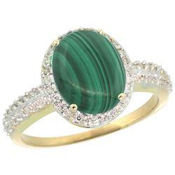 Natural 2.56 ctw Malachite & Diamond Engagement Ring 14K Yellow Gold - REF-39H7W