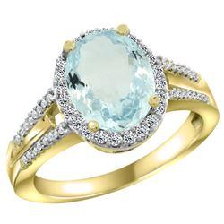 Natural 3.42 ctw aquamarine & Diamond Engagement Ring 10K Yellow Gold - REF-61A3V