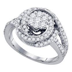 1 CTW Diamond Flower Cluster Bridal Engagement Ring 10KT White Gold - REF-89W9K