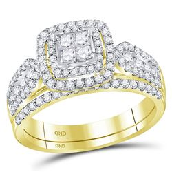 1.02 CTW Princess Diamond Cluster Halo Bridal Engagement Ring 14KT Yellow Gold - REF-89Y9X