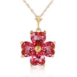 Genuine 3.8 ctw Pink Topaz Necklace Jewelry 14KT Yellow Gold - REF-43Z2N