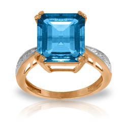 Genuine 7.62 ctw Blue Topaz & Diamond Ring Jewelry 14KT Rose Gold - REF-84X6M