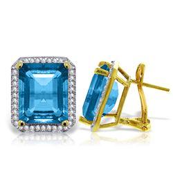 Genuine 15.6 ctw Blue Topaz & Diamond Earrings Jewelry 14KT Yellow Gold - REF-136H3X