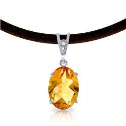 Genuine 7.56 ctw Citrine & Diamond Necklace Jewelry 14KT White Gold - REF-35M5T