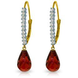 Genuine 4.8 ctw Garnet & Diamond Earrings Jewelry 14KT White Gold - REF-53N2R