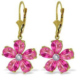 Genuine 4.43 ctw Pink Topaz & Diamond Earrings Jewelry 14KT Yellow Gold - REF-51V2W