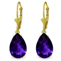 Genuine 10 ctw Amethyst Earrings Jewelry 14KT Yellow Gold - REF-45K3V