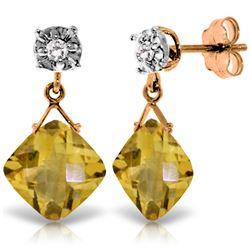 Genuine 17.56 ctw Citrine & Diamond Earrings Jewelry 14KT Rose Gold - REF-48V3W