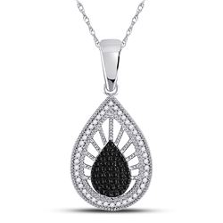 0.35 CTW Black Color Diamond Milgrain Teardrop Pendant 10KT White Gold - REF-22M4H
