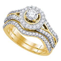 0.95 CTW Diamond Bridal Wedding Engagement Ring 14KT Yellow Gold - REF-149Y9X