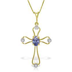 Genuine 0.57 ctw Tanzanite & Diamond Necklace Jewelry 14KT White Gold - REF-44F4Z