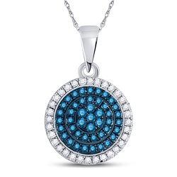 0.33 CTW Blue Color Diamond Circle Cluster Pendant 10KT White Gold - REF-19N4F