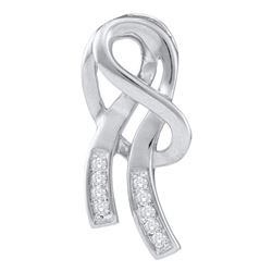 0.07 CTW Diamond Ribbon Fashion Pendant 10KT White Gold - REF-10N5F