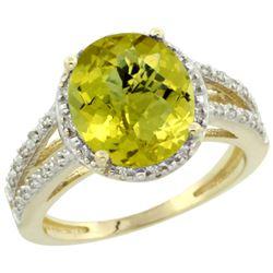 Natural 3.47 ctw Lemon-quartz & Diamond Engagement Ring 10K Yellow Gold - REF-33M6H
