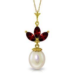 Genuine 4.75 ctw Garnet & Pearl Necklace Jewelry 14KT Yellow Gold - REF-24W3Y