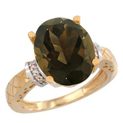 Natural 5.53 ctw Smoky-topaz & Diamond Engagement Ring 10K Yellow Gold - REF-44Y6X