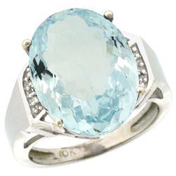 Natural 11.02 ctw Aquamarine & Diamond Engagement Ring 14K White Gold - REF-152Z5Y