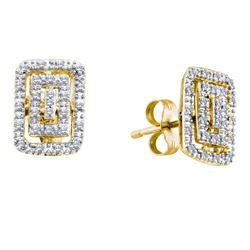 0.11 CTW Diamond Rectangle Cluster Earrings 10KT Yellow Gold - REF-16K4W