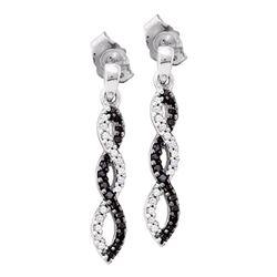 0.15 CTW Black Color Diamond Infinity Dangle Earrings 14KT White Gold - REF-22N4F