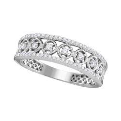 0.29 CTW Diamond Filigree Symmetrical Ring 10KT White Gold - REF-25K4W