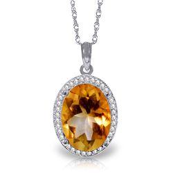 Genuine 4.88 ctw Citrine & Diamond Necklace Jewelry 14KT White Gold - REF-70Y2F