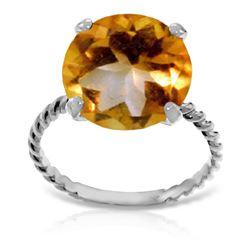 Genuine 5.5 ctw Citrine Ring Jewelry 14KT White Gold - REF-37R2P