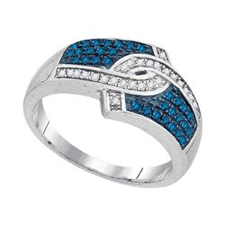 0.33 CTW Blue Color Diamond Hooked Ring 10KT White Gold - REF-25F4N
