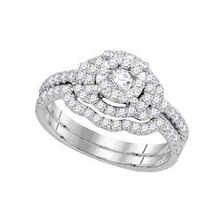 0.63 CTW Diamond Bridal Wedding Engagement Ring 14KT White Gold - REF-116N9F