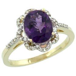 Natural 1.85 ctw Amethyst & Diamond Engagement Ring 14K Yellow Gold - REF-38W6K