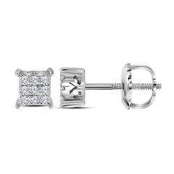 0.15 CTW Diamond Square Cluster Stud Earrings 10KT White Gold - REF-13W4K