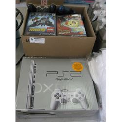 PLAYSTATION 2 WITH BOX OF GAMES AND CONTROLLERS