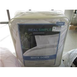 TWIN REAL SIMPLE WHITE DOWN COMFORTER
