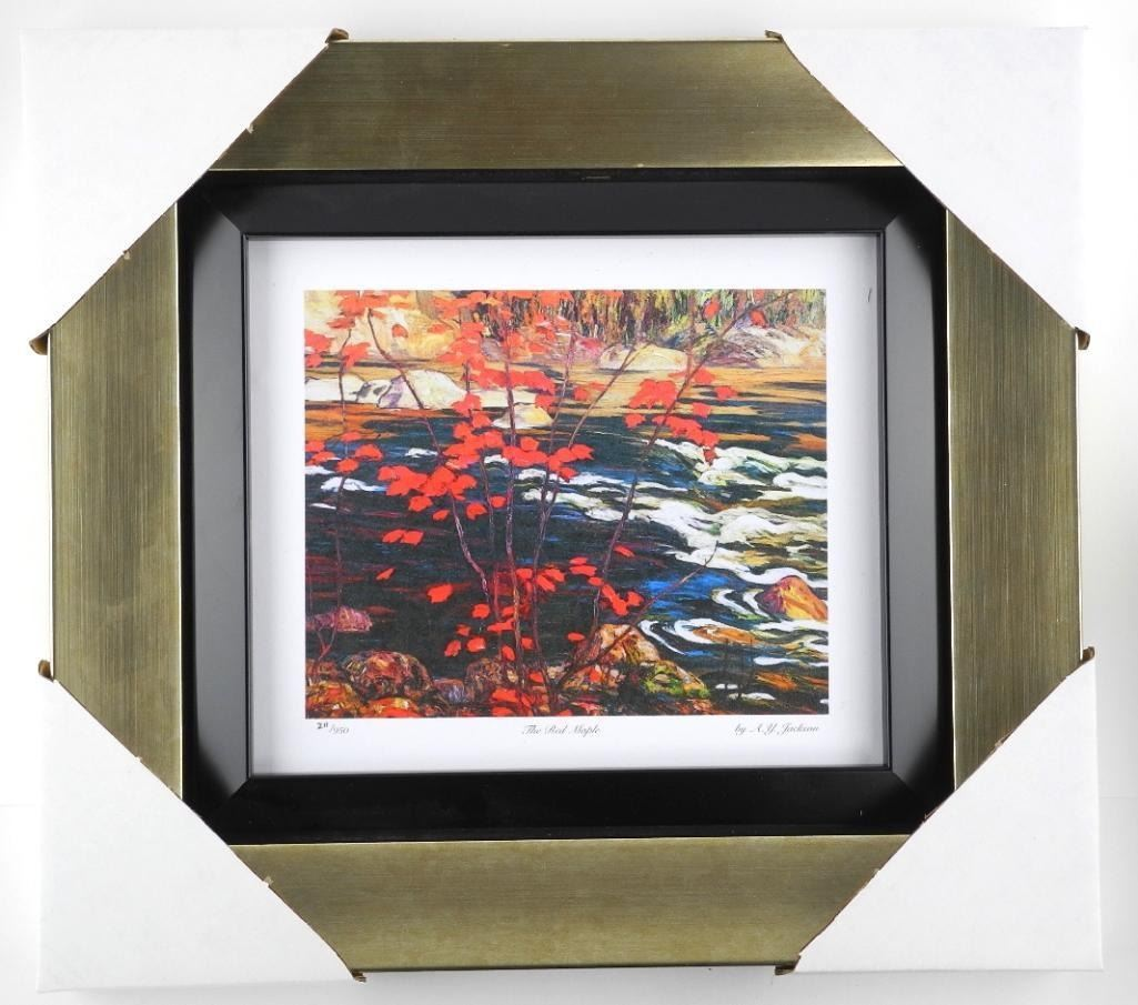 A.J. Jackson  The Red Maple  Limited Edition Studio Panel - Gallery Framed. Approx. 14x15 .