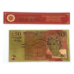 "Bank of England ""50 Pounds"" 24kt Gold Leaf Note with COA."