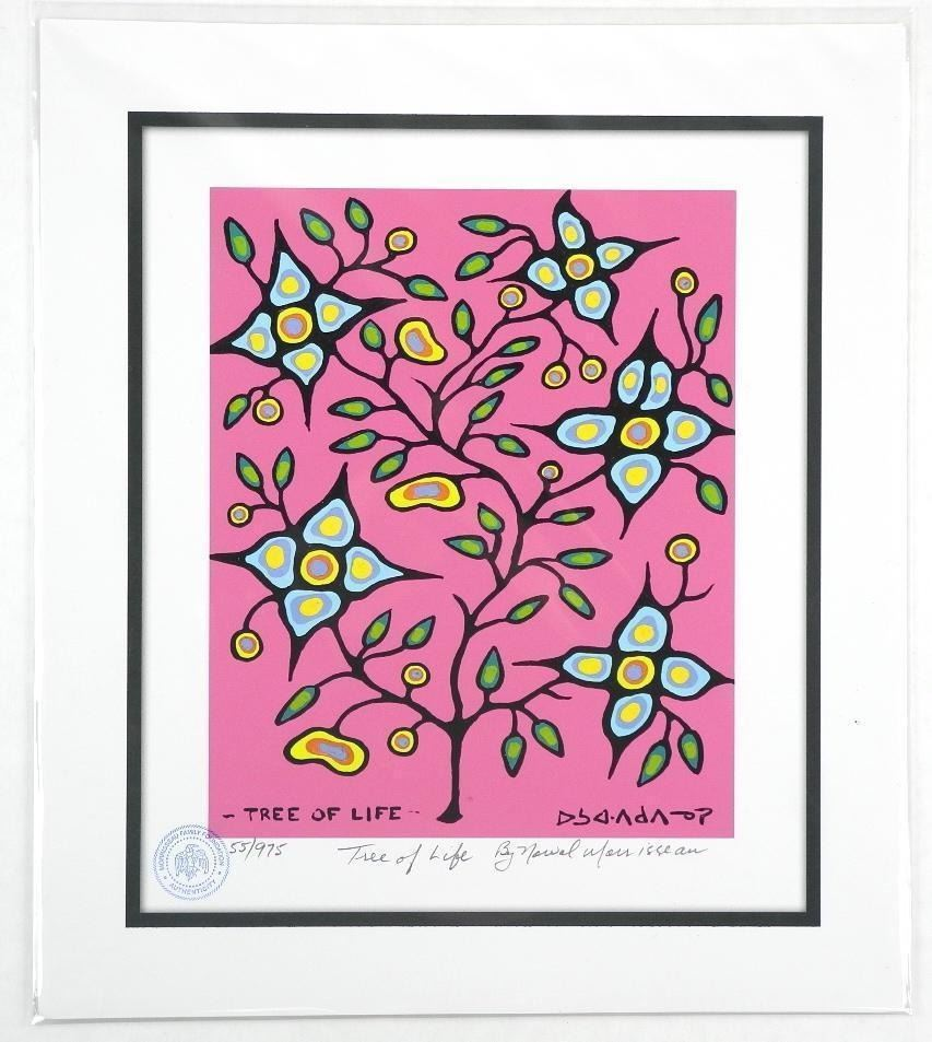 Norval Morrisseau (1931-2007)  Tree of Life  Giclee. 11x13 . Certified and Bio Au Verso.
