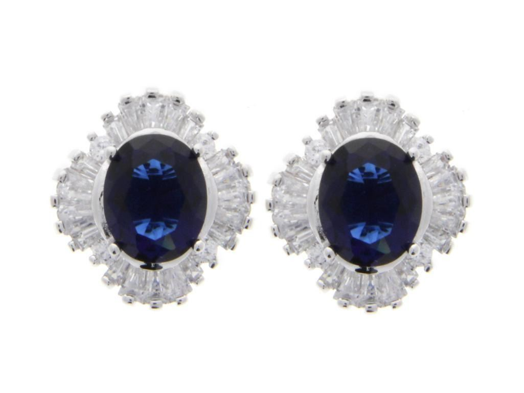 Ladies .925 Silver and Sapphire Blue Swarovski Element Cluster Earrings.