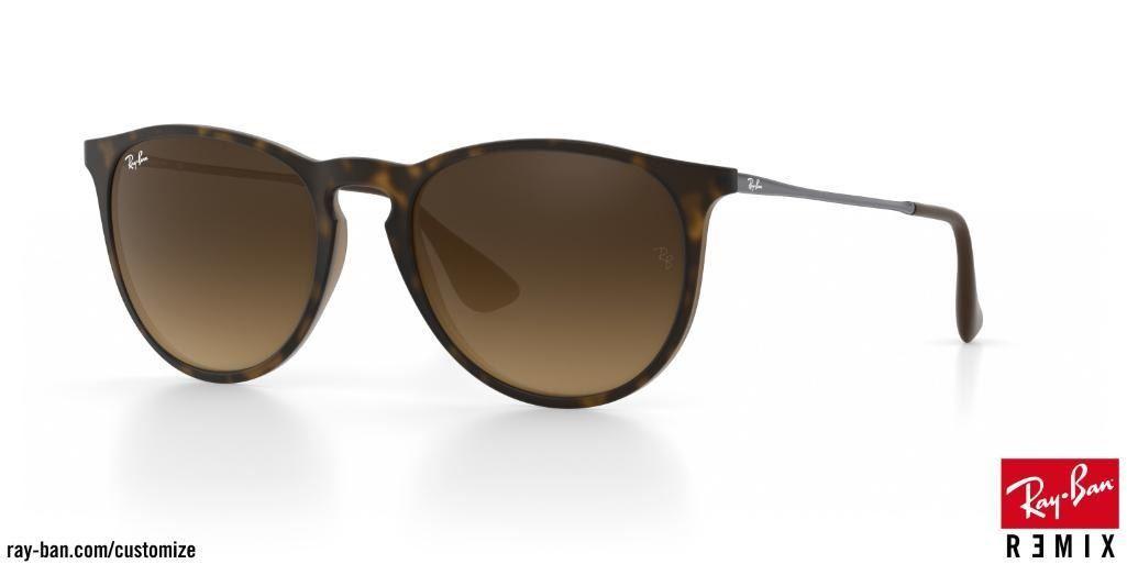 Women's RayBan Erika Custom Tortoise/Gunmetal/Brown Sunglasses - Value $208.