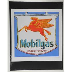 "Andy Warhol ""Mobilgas"". Bio au Verso. Approx. 18x17""."