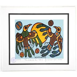 Norval Morrisseau (1931-2007)  Thunderbirds Sun Dance  Giclee. 11x13 . Certified and Bio Au Verso.