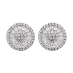 Ladies .925 Silver Wheel Design Swarovski Element Earrings.