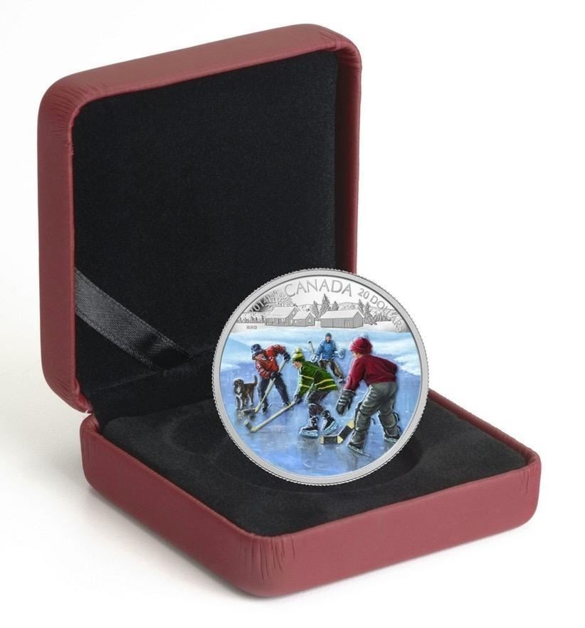 $20 - 2014 Pond Hockey .9999 Fine Silver.