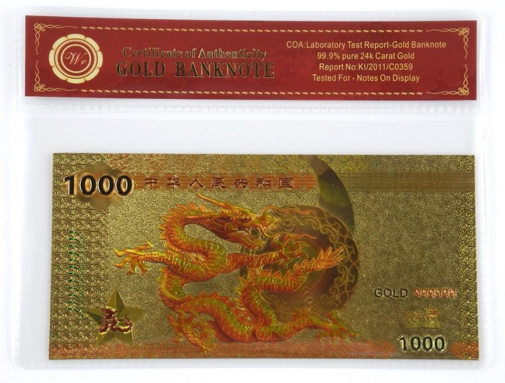 Dragon  1000  24kt Gold Leaf Note with COA.