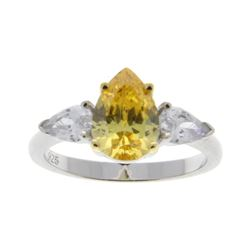 Ladies .925 Silver Canary Yellow Swarovski Element Ring. Size 8.