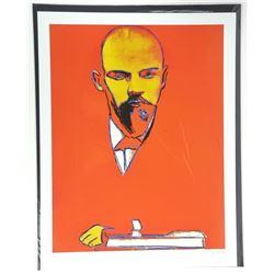 "Andy Warhol ""Lenin"". Bio au Verso. Approx. 22x16""."