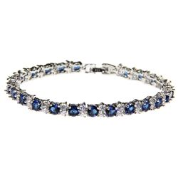Ladies .925 Silver Sapphire Blue and White Swarovski Element Bracelet.