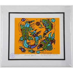 "Norval Morrisseau (1931-2007) ""Animal Spirits"" Giclee. 11x13"". Certified and Bio Au Verso."