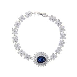 Ladies .925 Silver Sapphire Blue Swarovski Element Cluster Bracelet.